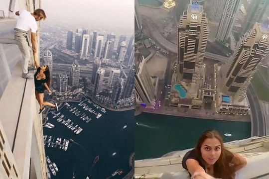 Người mẫu Nga treo mình lơ lửng trên tòa nhà chọc trời ở Dubai