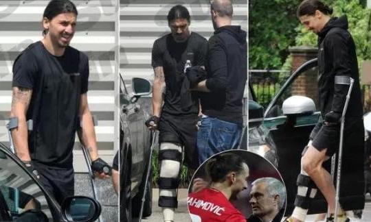 Ibrahimovic khổ sở, nhăn nhó trên đôi nạng sau chấn thương kinh hoàng