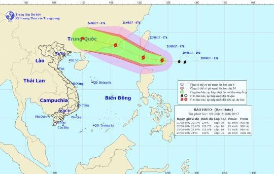 Bão Hato giật cấp 11 đi vào Biển Đông