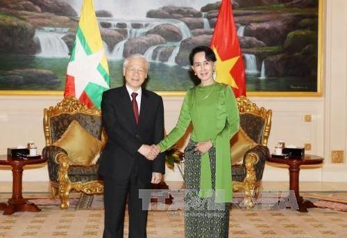Tổng bí thư Nguyễn Phú Trọng gặp bà Aung San Suu Kyi
