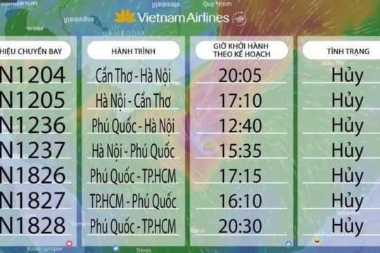 Hủy hàng chục chuyến bay đi TP.HCM, Cần Thơ, Phú Quốc do bão Tembin