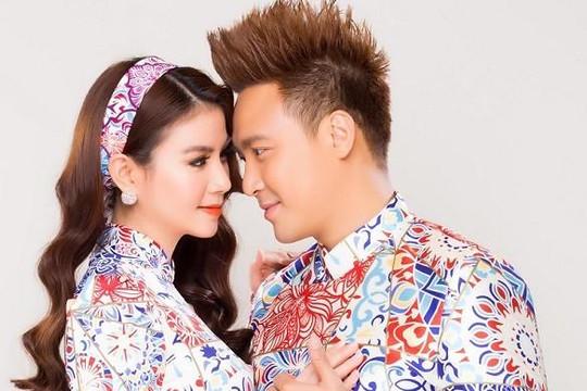 Vợ chồng diễn viên Kha Ly - Thanh Duy tình tứ chụp bộ ảnh áo dài xuân