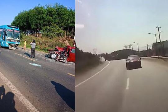 Clip ô tô phóng nhanh, lấn làn bẹp dúm khi tông trực diện xe khách Phúc Minh