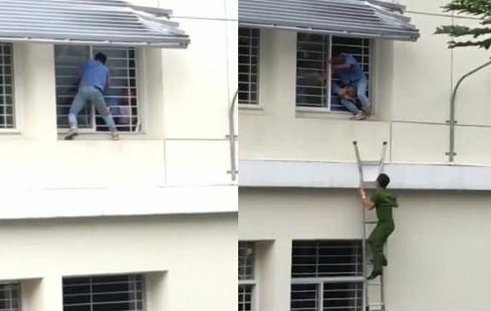 Gay cấn clip công an giải cứu nam sinh cao đẳng định nhảy lầu ở TP.HCM