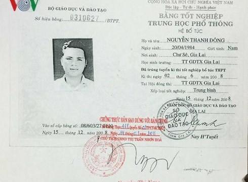Gia Lai: Phát hiện Phó Chủ tịch HĐND dùng bằng tốt nghiệp THPT giả