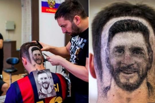 Độc đáo kiểu tóc mang hình Messi gây sốt