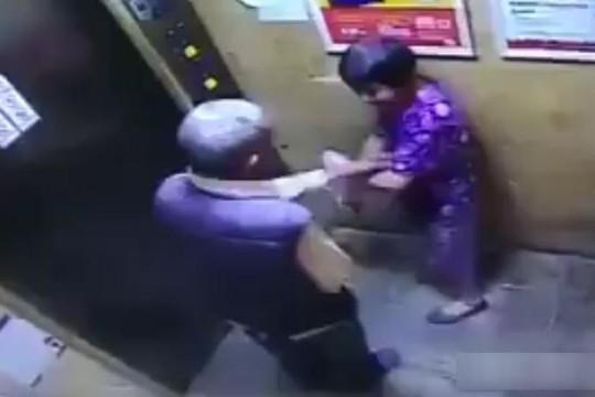 Clip ông già chống gậy quấy rối tình dục cụ bà trong thang máy
