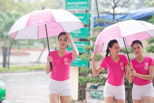Thí sinh Hoa hậu Việt Nam che dù tránh mưa tập luyện cho đêm chung khảo phía Bắc