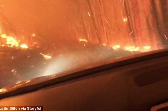Thót tim trước cảnh lái xe băng qua biển lửa cháy rừng ở Mỹ