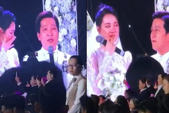 Clip Trường Giang - Nhã Phương khóc như mưa khi giải bày tâm sự ở đám cưới