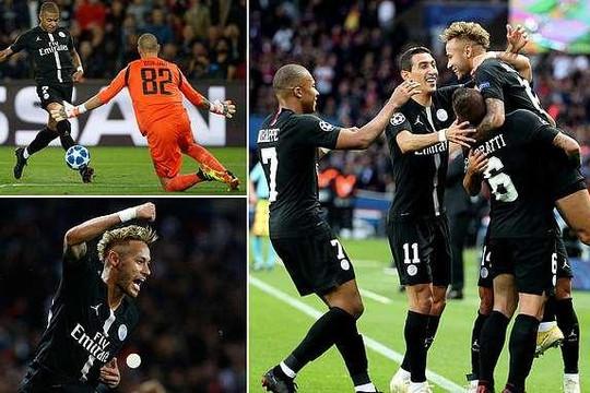 Neymar lập hat-trick trong ngày PSG đại thắng ở Champions League