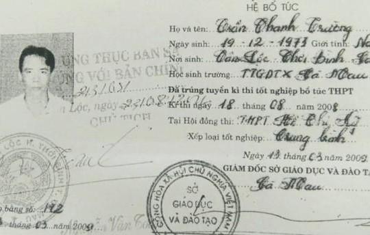 Cà Mau: Cách chức Trưởng Công an xã xài bằng 'dỏm'
