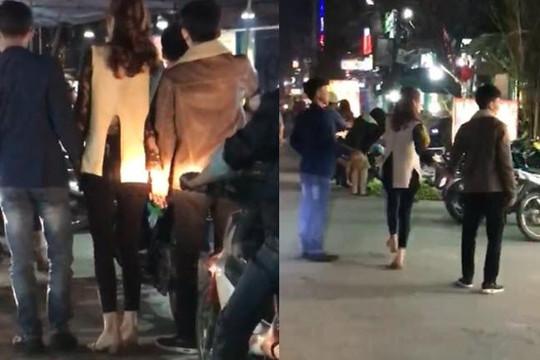 Clip chân dài Thanh Hóa 2 tay dắt 2 chàng trai đi chơi Valentine
