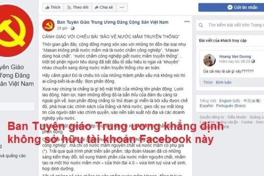 Ban Tuyên giáo Trung ương bị giả mạo tài khoản Facebook