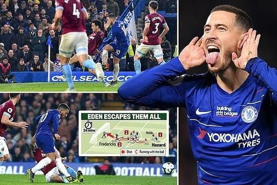 Hazard tỏa sáng, Chelsea vào top 4, hơn Man Utd 5 điểm