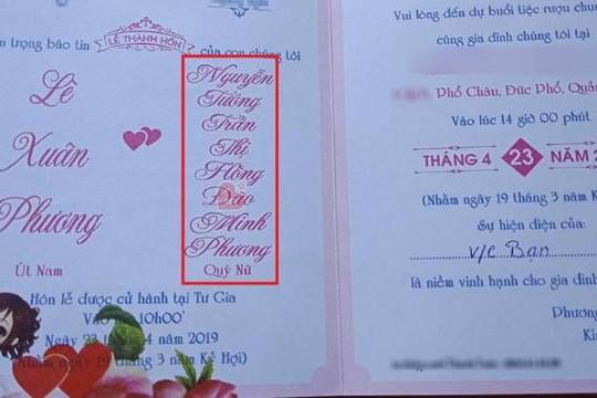 Cô dâu tên dài nhất Việt Nam: Nguyễn Tướng Trần Thị Hồng Đào Minh Phương