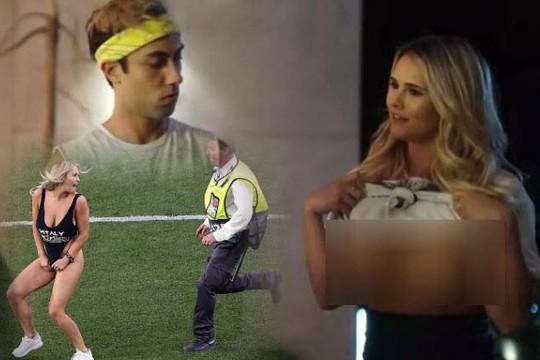 Kinsey Wolanski lộ clip khoe ngực, đăng video mặc áo tắm chạy vào sân Champions League