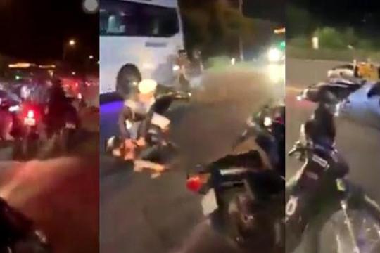 Clip bị phục kích khi đua xe, quái xế tông cảnh sát hình sự Cần Thơ để tẩu thoát
