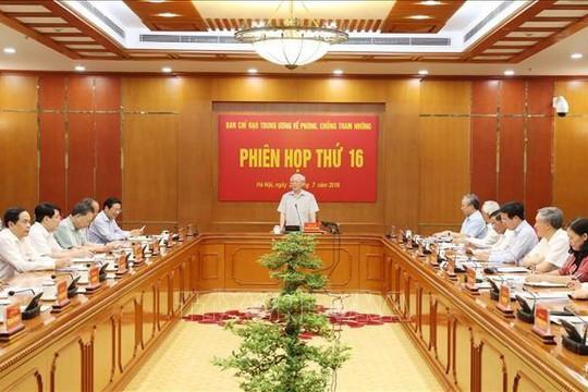 Tổng bí thư, Chủ tịch nước Nguyễn Phú Trọng chủ trì phiên họp Ban Chỉ đạo T.Ư về phòng chống tham nhũng