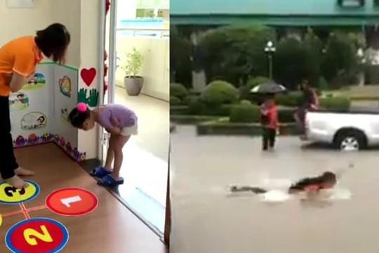 Clip cô giáo vòng tay cúi chào học trò, nam sinh bơi đến lớp vì đường ngập nước