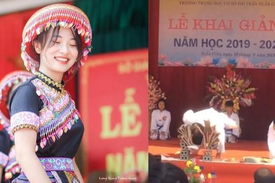 Nam sinh lấy đầu đập bể ván, nữ sinh hóa cô gái H'Mông đẹp như thiên thần ở lễ khai giảng