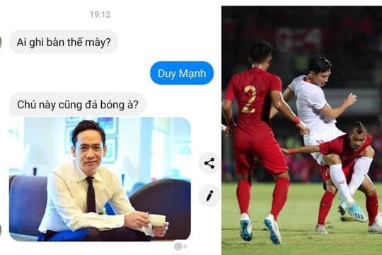 Fan nữ tưởng ca sĩ Duy Mạnh ghi bàn, Văn Hậu kẹp cầu thủ Indonesia tí hon giữa 2 chân