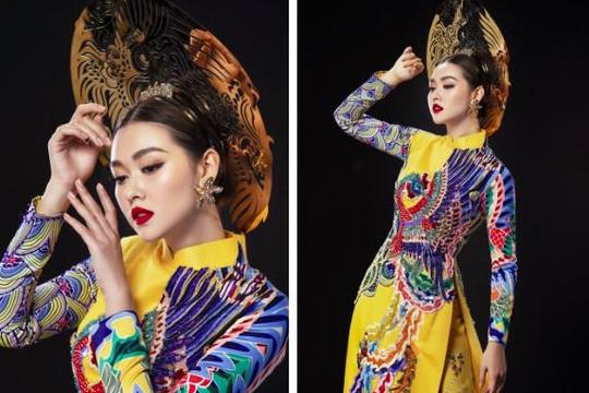 Á hậu Tường San khoe trang phục truyền thống cho đêm chung kết Hoa hậu Quốc tế