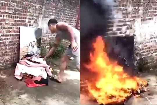 Clip bố chở con trai vượt chốt CSGT, thanh niên xăm trổ đốt ảnh cưới và đồ vợ