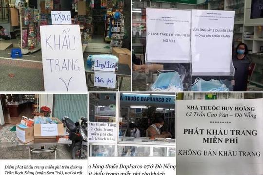Một số địa điểm ở Hà Nội, Đà Nẵng phát khẩu trang miễn phí cho người dân