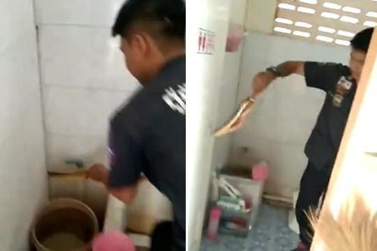 Rùng mình clip tay không bắt rắn hung tợn trong phòng tắm