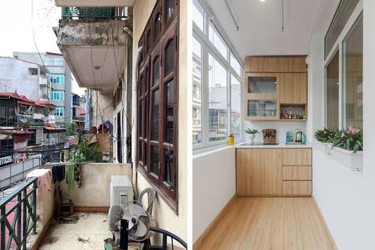 Cận cảnh ngôi nhà cũ xuống cấp sau khi được cải tạo, ban công biến thành nhà bếp