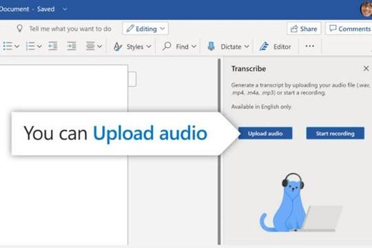 Microsoft Word thêm tính năng chuyển bản ghi âm, file âm thanh thành văn bản