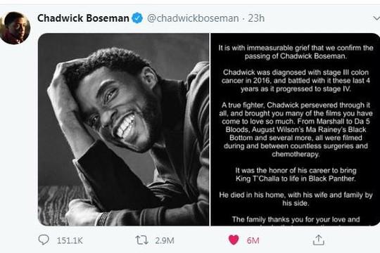Tweet về diễn viên siêu anh hùng Chadwick Boseman được like nhiều nhất mọi thời đại