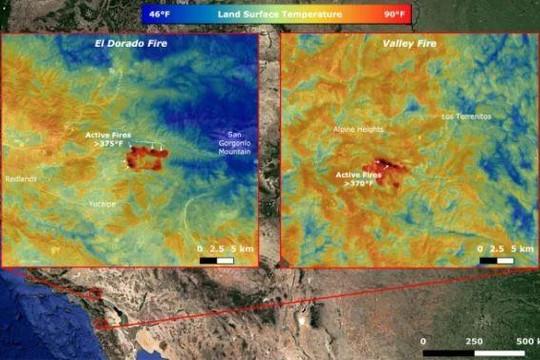Các vệ tinh của NASA giám sát cháy rừng ở California từ không gian