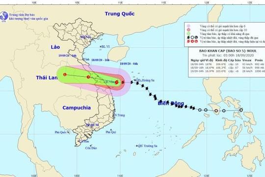 Dự báo bão số 5 sẽ đổ bộ Quảng Bình - Quảng Nam vào trưa, chiều nay