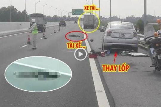 Dừng ô tô thay lốp trên cao tốc Hạ Long - Hải Phòng, tài xế bị xe tải tông chết