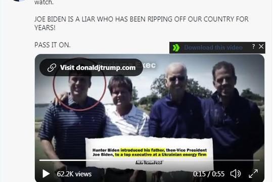 Twitter tạm khóa tài khoản tranh cử của ông Trump vì đăng video bóc mẽ cha con Biden