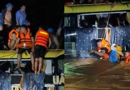Clip giải cứu 20 người trên xe khách bị lũ cuốn trôi ở Quảng Bình