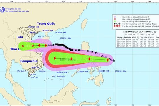 Bão số 8 hướng vào Hà Tĩnh - Quảng Trị, suy yếu dần thành áp thấp nhiệt đới