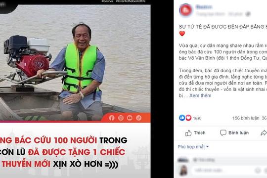 Quà tri ân cụ ông cứu gần 100 người ở Quảng Bình, bị hỏng thuyền và suýt chết