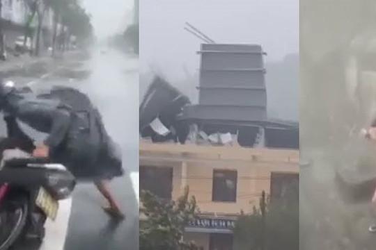 Clip bão số 9 thổi ngã người đi xe, bay mái nhà, thanh niên vẫn cởi trần tạo dáng như Michael Jackson