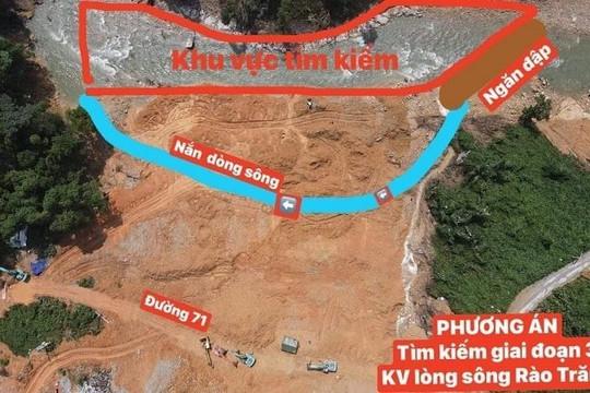 Lên phương án ngăn đập, nắn dòng tìm kiếm nạn nhân mất tích tại Thủy điện Rào Trăng 3