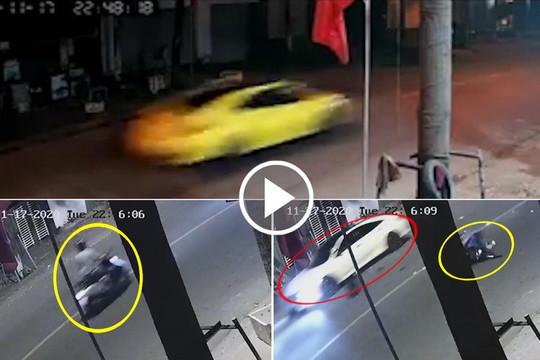 Clip thiếu gia ở Bình Dương lái siêu xe tông người gãy chân rồi bỏ chạy