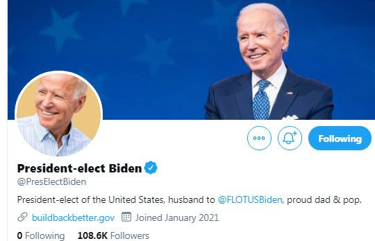 Ông Biden tạo tài khoản mới khi bị Twitter chơi khó, không cho kế thừa 33,3 triệu người theo dõi