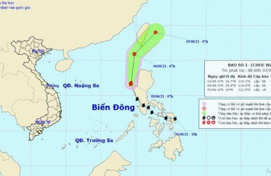 Bão số 1 có thể giật cấp 10 tại khu vực Bắc và giữa Biển Đông