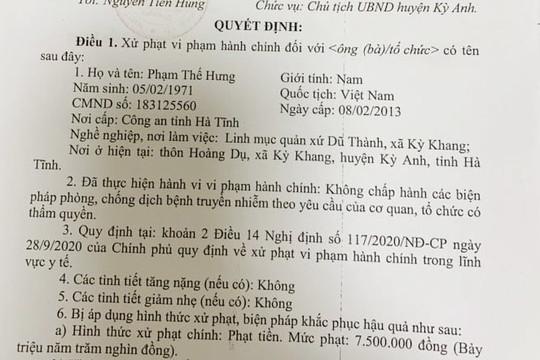 Linh mục Phạm Thế Hưng bị xử phạt vì tổ chức lễ với 300 người giữa dịch COVID-19