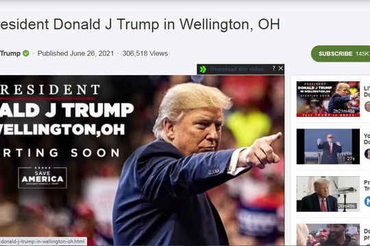 Ông Trump tham gia MXH video Rumble của Canada, quyết trả thù 10 nghị sĩ Cộng hòa