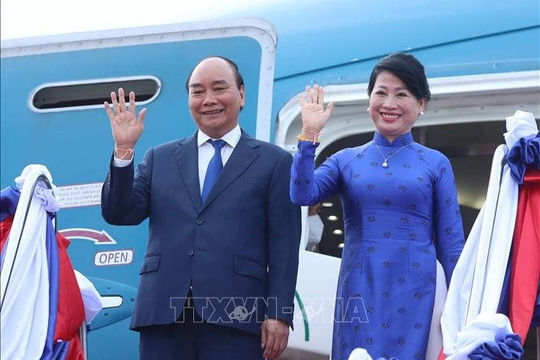 Chủ tịch nước Nguyễn Xuân Phúc kết thúc chuyến thăm hữu nghị chính thức Lào