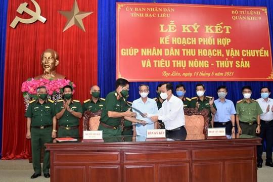 Quân khu 9 hỗ trợ Bạc Liêu thu hoạch, tiêu thụ nông thủy sản