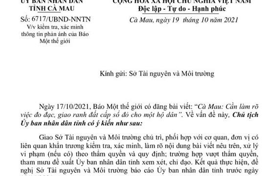 Chủ tịch UBND tỉnh Cà Mau chỉ đạo kiểm tra, xác minh thông tin sau phản ánh của Một Thế Giới